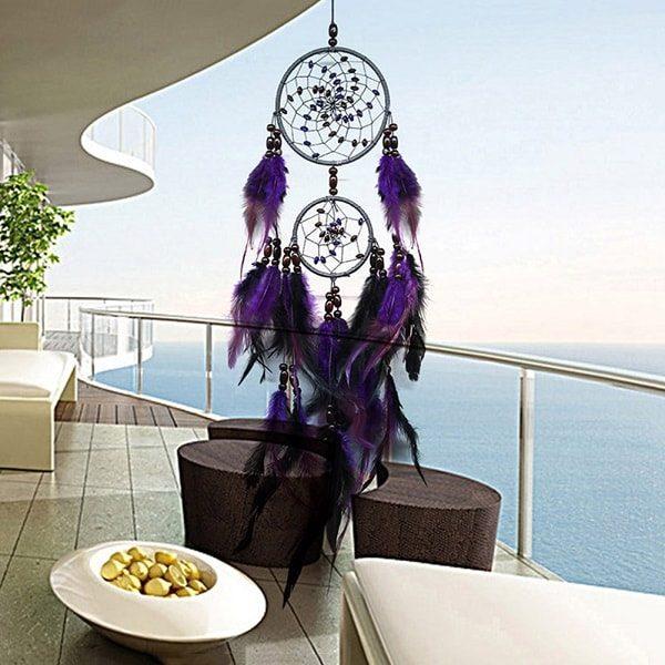 Attrape rêve indien violet 2