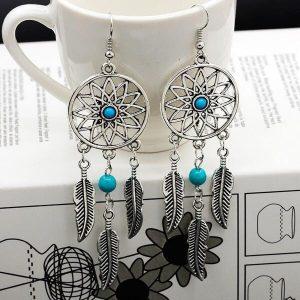 Boucles d'oreilles attrape rêve avec perle 1