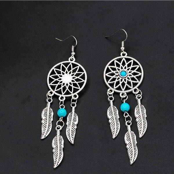 Boucles d'oreilles attrape rêve avec perle 2
