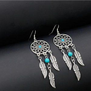 Boucles d'oreilles attrape rêve avec perle