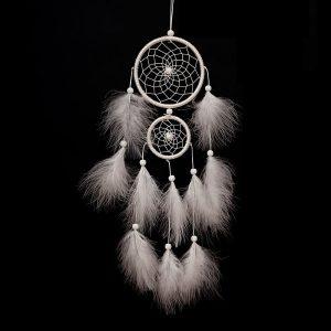 Attrape rêve blanc plume