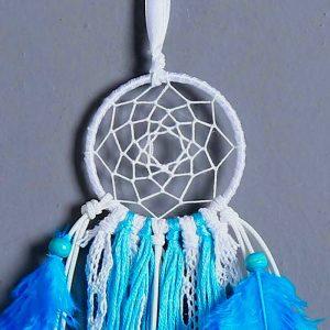 Attrape rêve turquoise et blanc 1