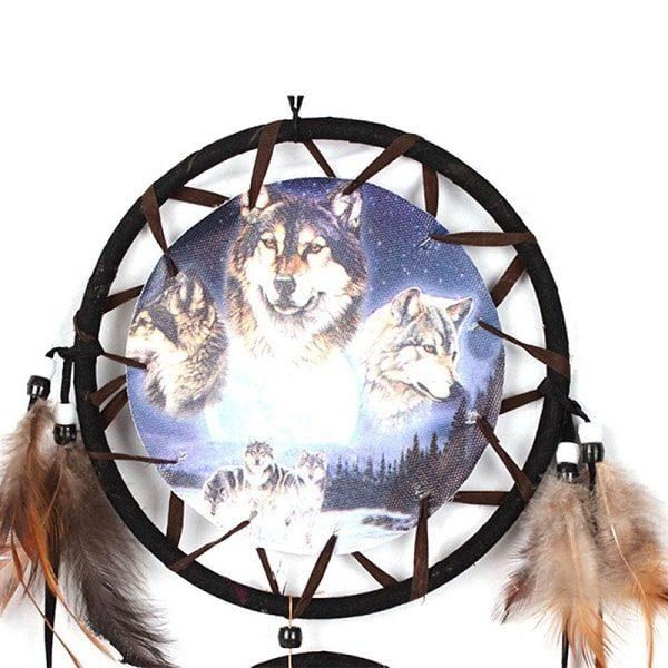 Capteur de rêve beige avec loup 1