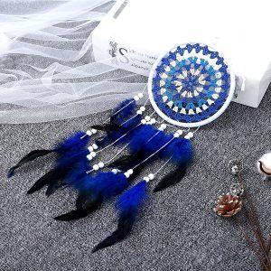 Grand attrape rêve noir bleu et blanc 3