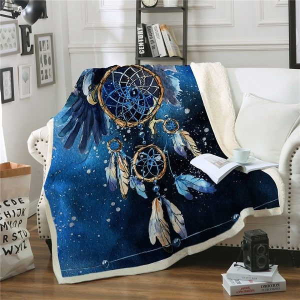 Couverture polaire dreamcatcher bleu