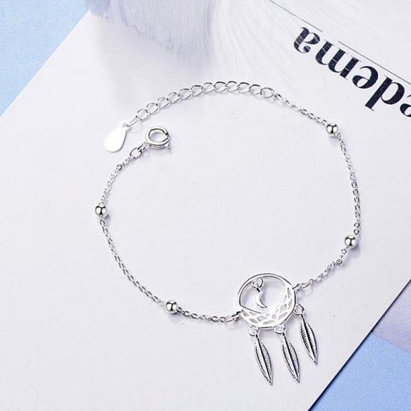 Bracelet attrape rêve argent - taille réglable