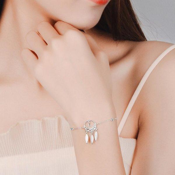 Bracelet attrape rêve en argent fin