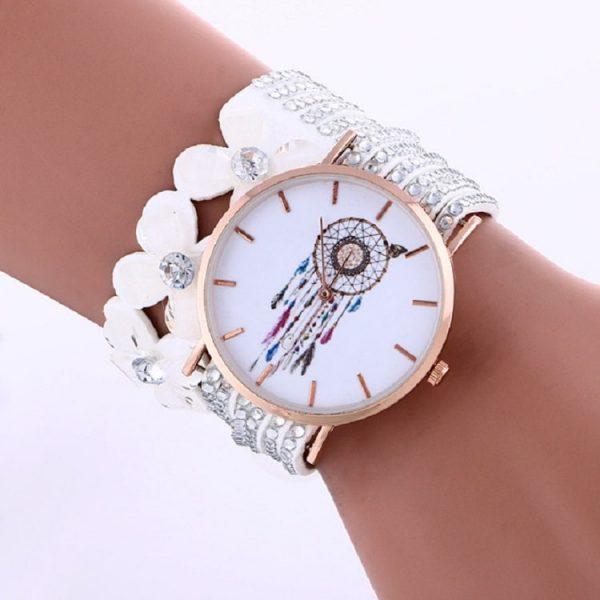 Bracelet montre attrape rêve blanc