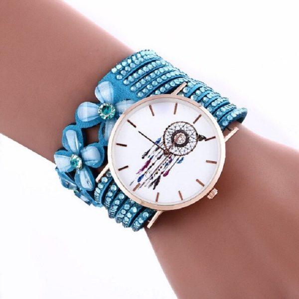 Bracelet montre attrape rêve bleu clair