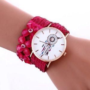 Bracelet montre attrape rêve fuschia