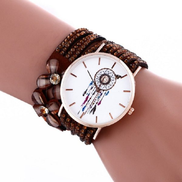 Bracelet montre attrape rêve maron