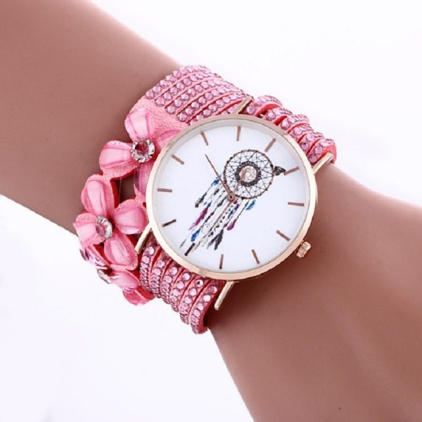 Bracelet montre attrape rêve rose
