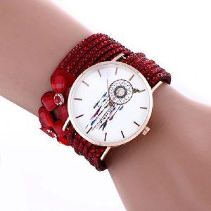 Bracelet montre attrape rêve rouge