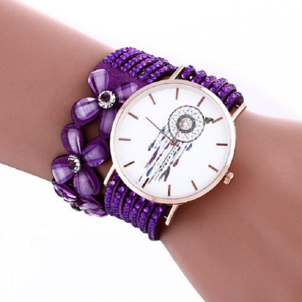 Bracelet montre attrape rêve violet