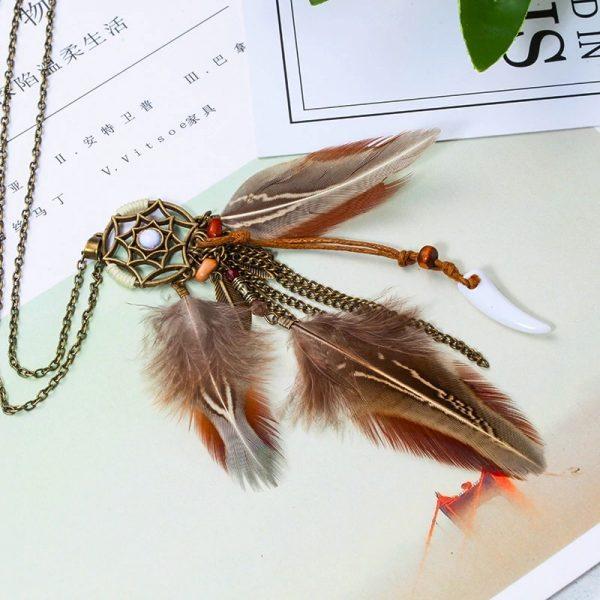 Collier attrape rêve avec plumes vintage