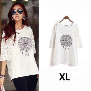 Tee shirt manche longue attrape rêve - Blanc - XL